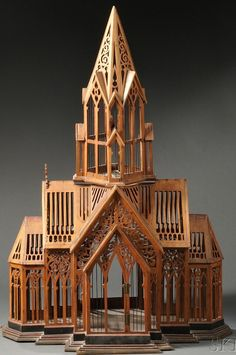 Model; Church, Fret Carved & Wirework, Molded Base, 42 inch. Architectural Sculpture, Architectural Models, Wooden Architecture, Classical Architecture, Small Buildings, Bird Cages, 42 Inch, Decorative Accents, Outsider Art