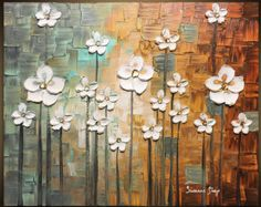 Original Contemporary fine art by Susanna - Abstract White Poppy Flowers Impasto Landscape Painting  More of my signature style flower landscape