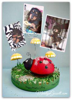 Smoothfoam ladybug photo holder by Marilyn Gossett