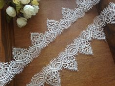 ivory venice lace trim in crochet design by lacetime on Etsy