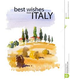 Vector watercolor illustration of Italy village shield country side sunny summer nature with text place. Good for warm memory postcard design, any graphic design or book illustration. Book Illustration, Watercolor Illustration, Watercolour, Provence, Italy Party, Italy Summer, Postcard Design, Country, Nature