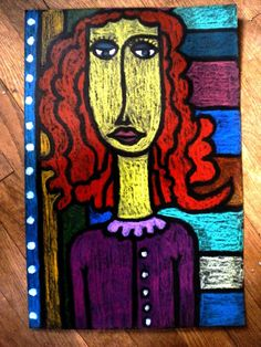 Modigliani-style portraits: oil pastel on black paper, Grade 8