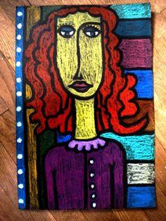Modigliani portraits - oil pastels on black paper