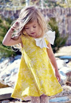 Girls Easter Bubble Dress in Yellow