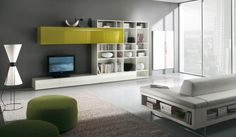Modern TV Wall Units for Living Room Designs - Image 07 : White and Green…