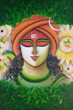 Lord Shiva Painting, Buddha Painting, Krishna Painting, Madhubani Painting, Buddha Art, Arte Shiva, Shiva Art, Krishna Art, Hindu Art