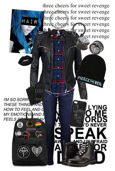 """""""Blue Cutie"""" by chemicalfallout249 ❤ liked on Polyvore featuring Levi's, MuuBaa, Karl Lagerfeld, Dr. Martens, JanSport and Lime Crime"""