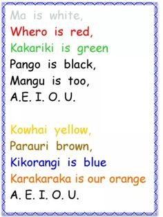 I chose this rhyme because NZ children learn Maori​ words and its meaning. Color Song For Kids, Color Songs, Songs For Toddlers, Kids Songs, Primary Teaching, Teaching Kids, Childhood Education, Kids Education, Maori Songs