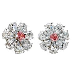 A Stunning Pair of White and Pink GIA Cert. Diamond Earrings | From a unique collection of vintage more earrings at https://www.1stdibs.com/jewelry/earrings/more-earrings/