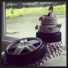 Checkered flag wedding cake