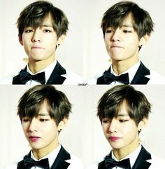 Taehyung with red lips :3 so sexy right?