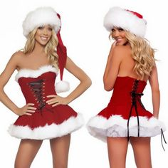 High Quality Imitation Fur Velvet Christmas Dress New Sexy Lingerie Wrap chest Santa Claus For Adults Cosplay Christams Costume