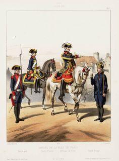 1786. Louis XVI. Gardes de la Ville de Paris; Guet à pied; Guet à Cheval; Officier du Guet; Garde Pompe