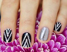 triangular Aztec nail-art on black