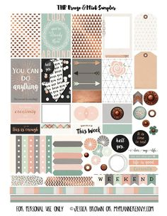 Free Printable Bronze  Mint Sampler for the MAMBI Happy Planner