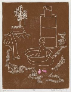 Artist: Ruth Waddy (American, 1909–2003). Title: Pink slippers (+ Just off the boat; 2 works) , 1973. Medium: linocut. Size: 28.3 x 20.6 cm. (11.1 x 8.1 in.)