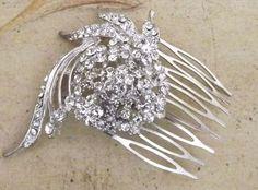 Rhinestone Crystal Wedding Hair Comb Bridal Hair by Weddingzilla, $22.00