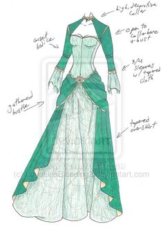 PLEASE NOTE: I do not allow any use of my designs. Gold lace and . MHcd - Arsenic and Old Lace Anime Outfits, Cool Outfits, Fantasy Dress, Fantasy Outfits, Fantasy Clothes, Dress Sketches, Dress Drawing, Fashion Design Sketches, Character Outfits