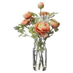 "Threshold™ Faux Ranunculus in Glass Vase - Orange 12"""