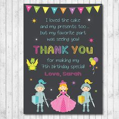 Princess Thank you Card Princess thank you note by funkymushrooms