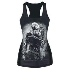 Punk Girl Digital Print Tank Top Vest Blouse Gothic Women Club Party T-Shirt