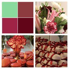 Paletas de cores: marsala, rosa e verde