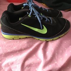 Nike Air Total Core Training Shoes Black green and blue Nike Air Total Core Training shoes they are used but have a lot of life left in them and are way comfortable and great for hiking or running Nike Shoes Athletic Shoes
