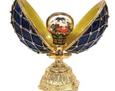 Faberge style egg Openwork.  The egg is made of brass, gilded, enameled with several layers of multicolored enamel and it is also nicely decorated with Austrian crystals.  Size: 7.5 cm/3 tall