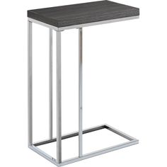 What a convenient way to eat or drink on your couch! This gray finish accent table has sufficient space for you to place your snacks, drinks and even meals. Its chromed metal base provides sturdy support along with a fashionable flair that will suit any decor.