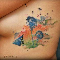 Watercolor Dandelion Tattoo by Vadim Strizhko