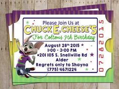 Chuck E. Cheese Birthday Party Invitation for by LittleWeekendShop