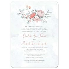A lovely wedding invitation design featuring an illustrated rustic floral bouquet in blue, coral, pink and gray on a light blue-green watercolor background.