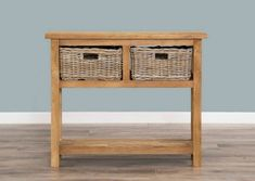 Reclaimed Teak 2 Drawer Hall Table with Shelf plus 2 Kubu Grey Natural Wicker Baskets - Sustainable Furniture