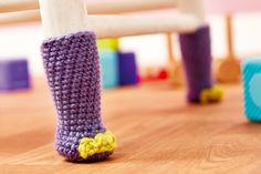Crochet hippo chair socks // Let's Get Crafting, issue 93 // Image: cliqq.co.uk