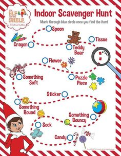 Indoor Scavenger Hunt for kids! See how many items you can find around your home or, if you want more of a challenge, see how many you can find in 90 seconds! | Elf on the Shelf Ideas | Rainy Day Activities | Snow Day Activities | Fun of Kids | Free Printable Activities for Children