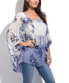 Blue Floral Silk-Blend Dolman Top