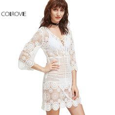 Crochet Lace Dress Women Short Sleeve 2017 Summer Dresses Elegant ...