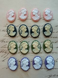16 Unset Lady Cameos, 8 pairs  - ivory white green purple black pink - 18x13mm - LEFT AND RIGHT Cabochon Cabs Cameos by LeanderOrnaments on Etsy