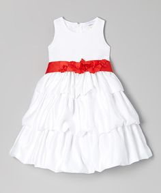 Take a look at this White & Red Rosette Tier Dress - Toddler & Girls by Growing Up on #zulily today!