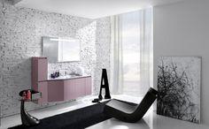 Badezimmer Möbelset in aktuellem Design-Relaxsessel-schwarzer Teppich