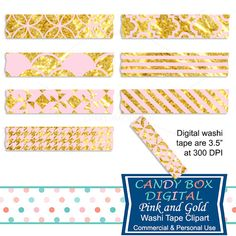 Pink and Gold Digital Washi Tape Clipart by CandyBoxDigital. Great for digital scrapbooks and journals, blogs and websites. At our Etsy shop.