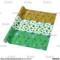 Flag of Ireland Shamrocks Muted Wrapping Paper Shamrock Ireland, Custom Wrapping Paper, Colorful Backgrounds, Irish, Wraps, Flag, Gift Wrapping, Create, Prints