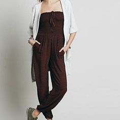 Free People bubble stripped one piece Burgundy and black onesie super comfy Free People Pants