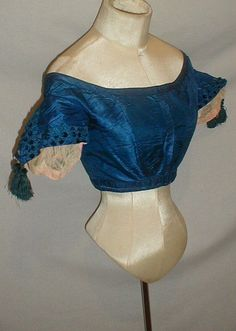 All The Pretty Dresses: Late 1860's Blue Ball Gown Bodice Because most ball gown bodices were pointed, this reminds of the fashion plates where a pointed belt was worn during the evening.