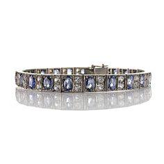 Antikes Art déco Armband aus Silber 925 mit Ornamenten 22 blaue Saphire und 44 weiße Saphire Art Deco, Gold, Ornament, Charmed, Vintage, Bracelets, Accessories, Jewelry, Fashion