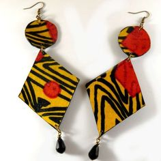 Fabric Earrings, Wooden Earrings, Diy Earrings, Earrings Handmade, Handmade Jewelry, Diy African Jewelry, African Accessories, African Earrings, Paper Jewelry