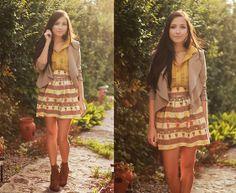 Flattery Teapot Skirt, Lulu*S Blazer, Romwe Yellow Sheer Top, Romwe Booties