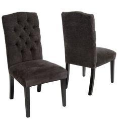 Clark Dark Grey Fabric Tufted Dining Chairs (Set of 2)