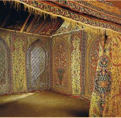 Qajar royal tent made for Muhammad Shah (1834-1848), Persia, early 19th century. Wool embroidered Reshti Dozi woolen appliques, one of these tent is now in the V & A museum London.