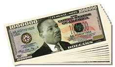Martin Luther King Jr. Million Dollar Bill - 10 Count with Bonus Clear Protector and Christopher Columbus Bill *** Click image to review more details.